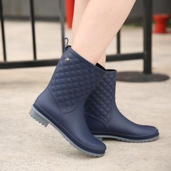 Wanita Non-slip Hujan Bang Pendek Sepatu Kasual Martin Rain Boots (Biru)