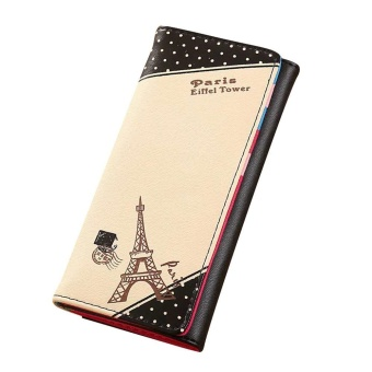 Women Paris Eiffel Tower Hasp Coin Purse Long Wallet Card Holders Handbag - Black - intl
