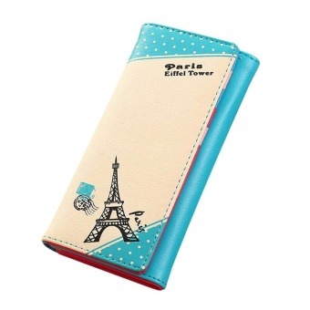 Women Paris Eiffel Tower Hasp Coin Purse Long Wallet Card Holders Handbag - Blue - intl