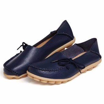 Women Shoes Leather Beanie Flat Shoes Summer Spring Autumn Slip-on Knot Non-slip Woman Ladies Soft Loafers Flats Dark Blue - intl - 3