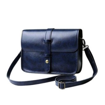 Women Shoulder Bag PU Leather Handbag Tote Purse MessengerCrossbody Bag Navy - intl