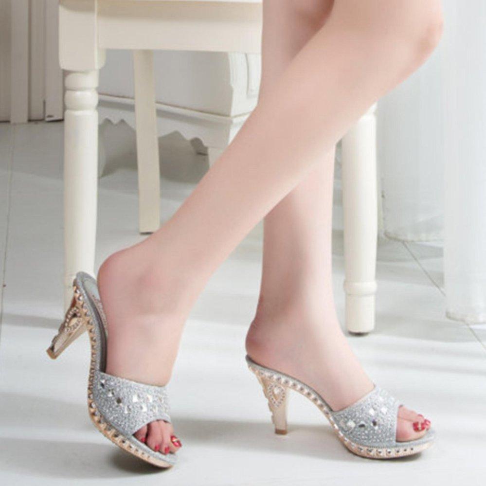 Women Slipper Diamond Decoration Cup Type Heel High HeeledShoes Silver intl