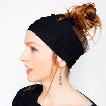 Women Wide Sports Yoga Headband Stretch Hairband Elastic Hair BandTurban Black - intl