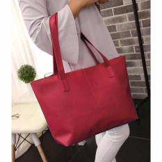 Women's Fashion PU Leather Tote Bag #99Handbag Shoulder Bags Tas Wanita Kulit - MARUN