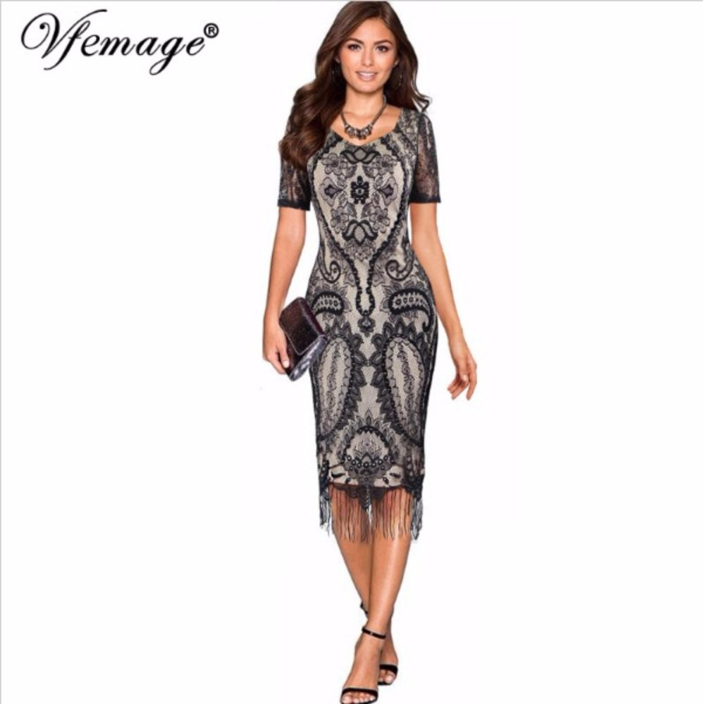 ... Womens Sexy Elegant Floral Lace Tassel Chic Fashion Evening Party Special Occasion Sheath Fitted Bodycon Dress ...