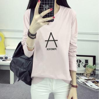 Xianyuansu Kaos Wanita Lengan Panjang Motif Cetak Tulisan Model Longgar (178 (merah muda)