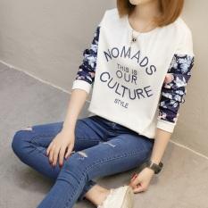 Xianyuansu Kaos Wanita Lengan Panjang Motif Tulisan Renda Model Longgar 2 Warna (159 (putih