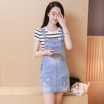 Xisiyao Korea Fashion Style denim perempuan musim panas rok gaun tali (Light Blue)