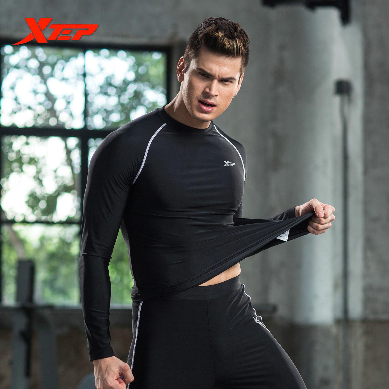 ... XTEP Men Compression T-shirt Long Sleeve Running Sport Shirt MaleGym Fitness Bodybuilding Tights Base ...