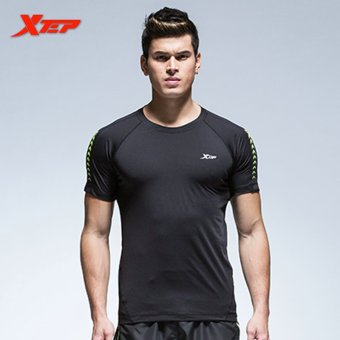 XTEP Men's Fashion Short Sleeve Tight T-shirt Clothing Summer Sporting Fashion Solid Man Base T-Shirts Men's Bodybuilding Tops (Black) - intl