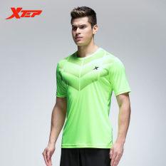 XTEP Men's Breathable Quick Dry Soccer Tshirts Running Sports ShirtO-neckFitness Short Sleeve Male Shirt