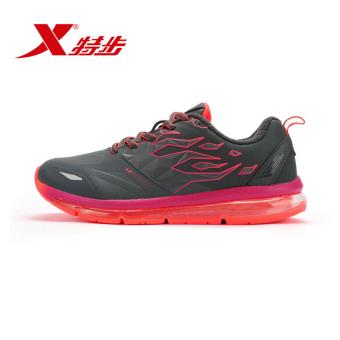 Xtep redaman memakai sepatu non-slip, sepatu jogging, sepatu wanita (Abu-abu gelap Hong)