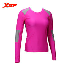 XTEP Women Fitness Gym Workout Sports Long Sleeves Running T-shirts Tights Skins Compression Base Layer Slim Shirts (Rose) - intl