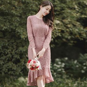 Yang Chic Korea Fashion Style Baru Perempuan Rok Fishtail (Merah muda) (Merah muda