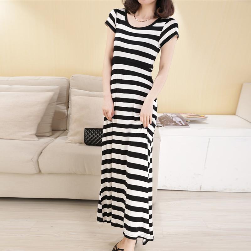 Ying pleasant kasual hitam dan putih gaun Slim yard besar (Tebal bergaris-garis hitam