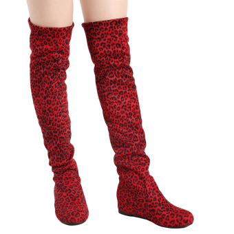 YingWei Women Winter Boots Leopard Anti-Skidding Inner HeightenFlat Bottom High Knee Long Boots Red - 3