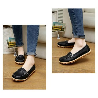 YingWei Women's Leather Beanie Soft Loafers Flat Shoes Mother's Casual Shoes (Black) - intl