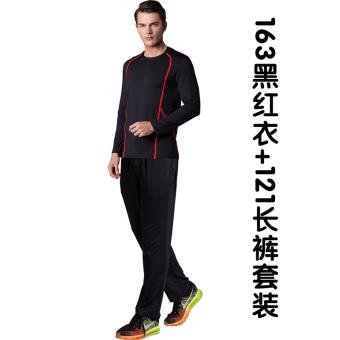 Yitalu laki-laki kebugaran pakaian joging gym cepat kering pakaian (163/121 hitam dan merah pakaian + celana panjang)