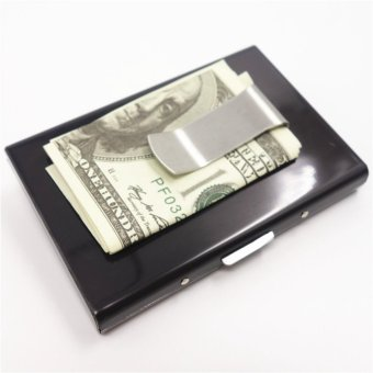 Yixiangqing High-Grade stainless steel men credit card holder womenmetal bank card case card box rfid card wallet Money Clip 009Black- intl