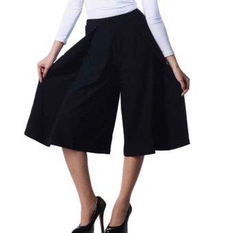 Yoorafashion Celana Kulot Wanita - Layer Cullotes Pants [Black Hitam]