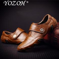 YOZOH Baru Roman Musim Dingin Pria Kulit Sepatu Kasual Pria Sepatu Datar Sepatu Sepatu Sepatu Pria Kulit Asli Pria Laki-laki Sepatu
