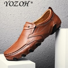 YOZOH Men 'S Casual Shoes Leather Soft Leather English Octopus Cow Leather Carrefour Shoes - intl