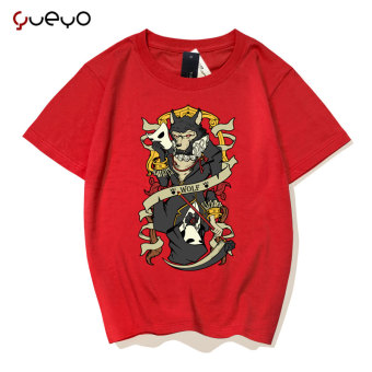 Gambar Yueyo angin lengan pendek pecinta t shirt (Manusia serigala merah)