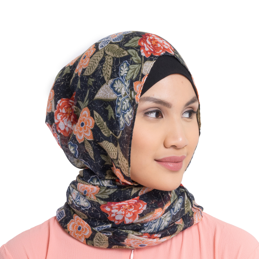 Zada Printed Pashmina Scarf - Green Mix .