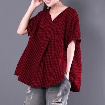 ... t-shirt musim panas. Source · Zanzea 2018 Musim Panas Wanita V Leher Lengan Pendek Periksa Plaid Blus Longgar Berlipat Cotton Linen