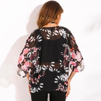 Zanzea Wanita Vintage Floral Shaw Kimono Lembaran Kain Sutera Tipis Longgar Cardigan Dicetak .