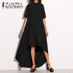 ZANZEA Women Autumn O Neck Short Sleeve Asymmetrical Hem Summer Casual Loose Party Solid Long Dress Plus Size (Black) - intl