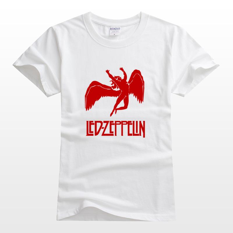 Zeppelin rock katun dicetak lengan pendek yang dipimpin t-shirt (Putih)