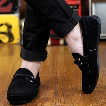ZOQI man's Slip-Ons&Loafers fashion cow suede leather Shoes(Black) - intl - 5