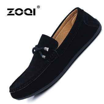 ZOQI man's Slip-Ons&Loafers fashion cow suede leather Shoes(Black) - intl