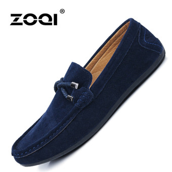 ZOQI man's Slip-Ons&Loafers fashion cow suede leather Shoes(Blue) - intl