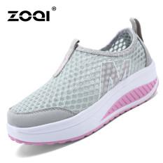 ZOQI Wanita Fashion Sepatu Sepatu Olahraga Kasual Bernapas Nyaman Sepatu (abu-abu)-Intl