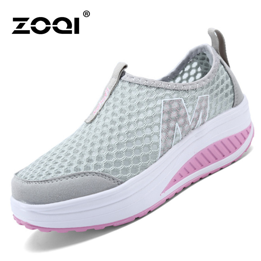 ... ZOQI Woman's Fashion Sneakers Sport Casual Breathable Comfortable Shoes (Grey) - Intl ...