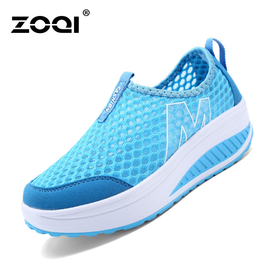 ZOQI Woman's Fashion Sneakers Sport Casual Breathable ComfortableShoes (Blue) - Intl .