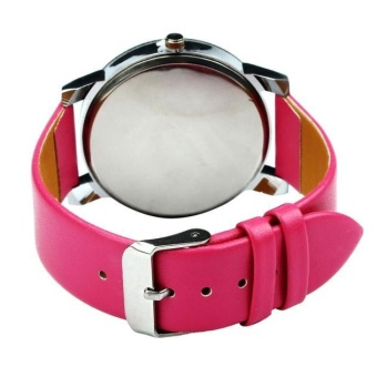 1 PC pria Quartz Dial Clock kulit Wrist Watch bulat case Rose Red - 4