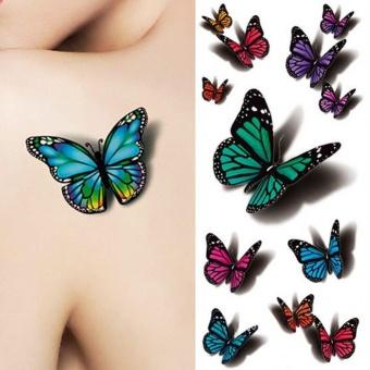 1 Lembar 3D Butterfly Tattoo Decals Seni Tubuh Stiker Kupu-kupu Terbang Kertas Tahan Air