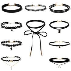 10 buah Wanita Girl Seksi Wanita renda bunga Hitam kalung perhiasan kalung leher Bohemia