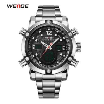 [100% Genuine]WEIDE Sport Watch Luxury Brand Dual Time Zone Black LCD Dial