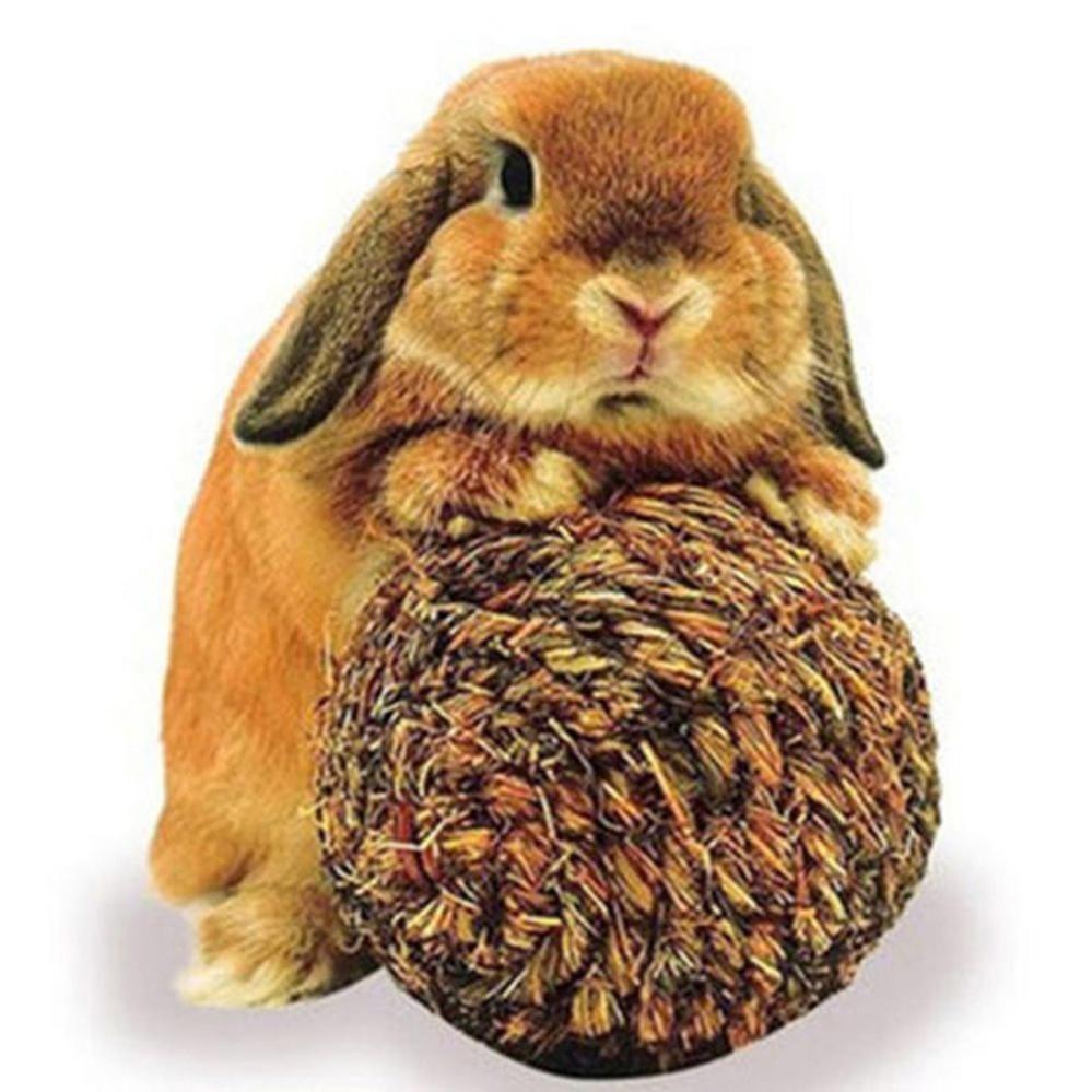 10cm Pet Chew Play Toy Grass Ball with Bell for Rabbit Hamster Guinea Pig Rat Grass Green 10cm - intl