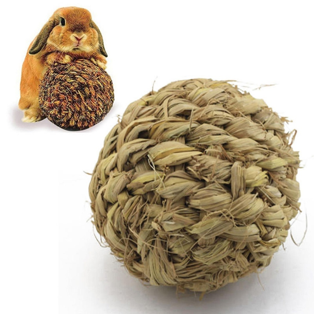 10cm Pet Chew Play Toy Grass Ball with Bell for Rabbit HamsterGuinea Pig Rat Grass Green 10cm - intl