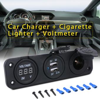 12 V/24 V mobil ganda Charger USB adaptor daya pemantik api + pengukur tegangan