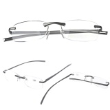 ... Aluminum Metal Rimless Reading Glasses Presbyopic Eyeglass Resin Lense - intl - 3 ...