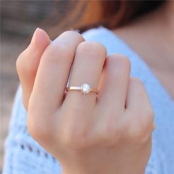 18 k Korea Fashion Style perempuan titanium baja naik cincin ekor emas tunggal bor cincin