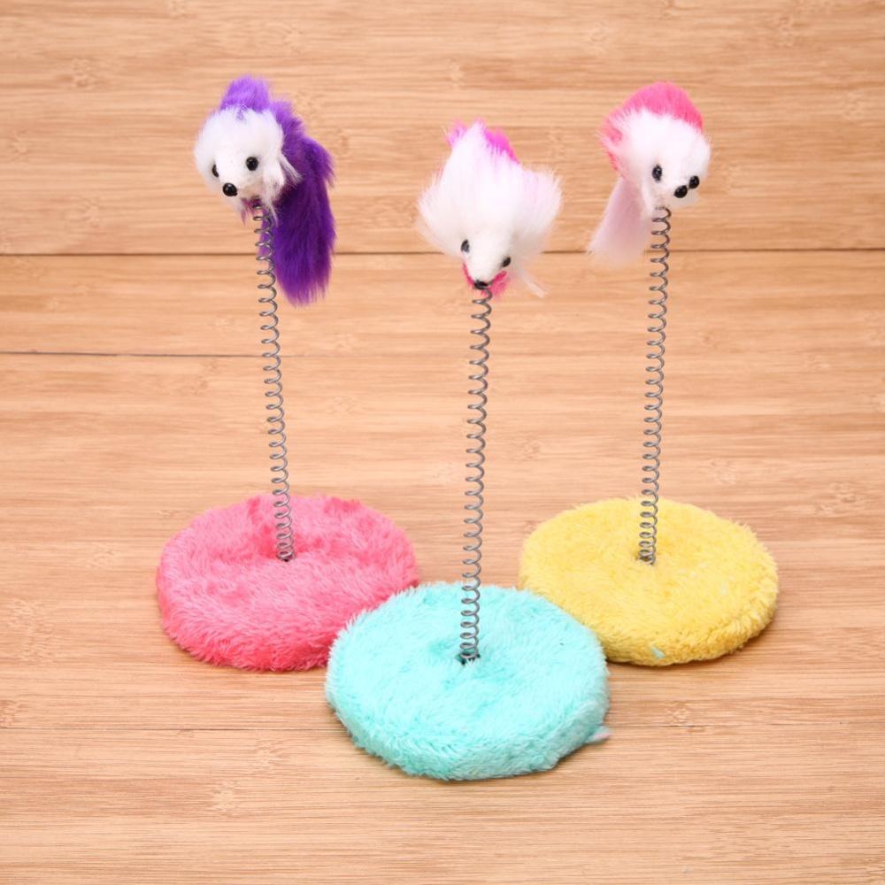 ... 1Pc Kucing Gores Papan Mouse Piring Kucing Tongkat Mainan Pet Frame Spring Bells Acak Warna