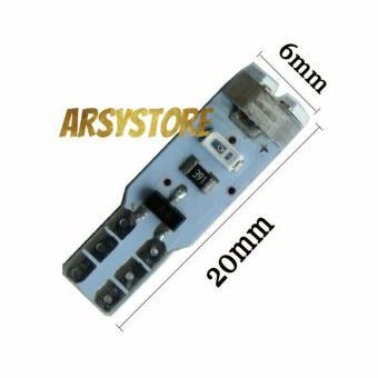 2 Biji Lampu Led T5 3014 5 titik Metal soket Speedo Panel Dashboard Mobil Motor - Ice Blue - 2