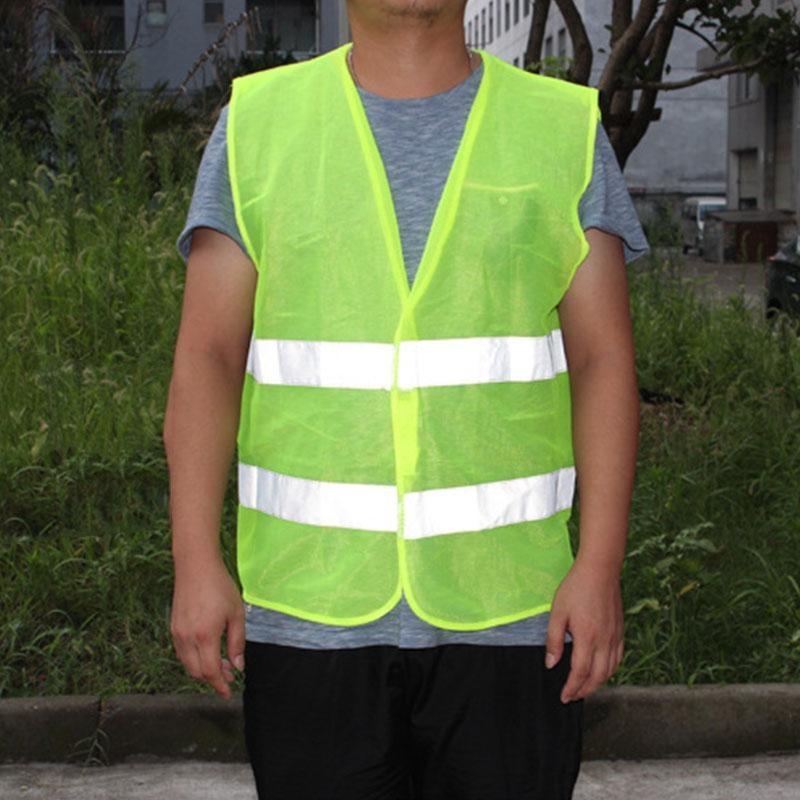2 kantong warna jingga hijau rompi jala keamanan dengan strip reflektif untuk Bandara